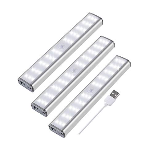 Luz LED sin cables bajo la luz LED, luces nocturnas con sensor de movimiento de 30 LED, lámparas recargables USB con tira magnética para armario, armario, escaleras, servicios higiénicos (3 unidades)