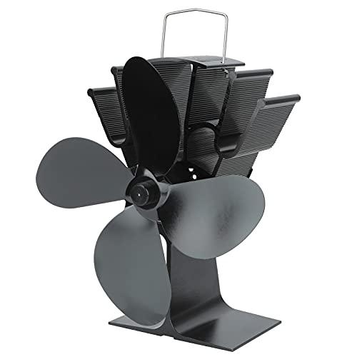 Gaeirt Ventilador de Estufa de Calor, Ventilador de Calor para Chimenea de 4 aspas, Accesorios de Chimenea para la Sala de Estar, Ventilador de leña para leña/Quemador de leña/Chimenea