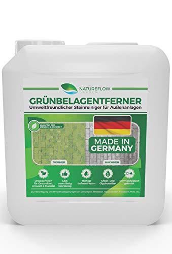 Grünbelagentferner für die effektive Entfernung von Moos - Ungiftiger und Umweltfreundlicher Steinreiniger für Außenanlagen - Frei von Glyphosat - Made in Germany - 5L Außenanlagenreiniger