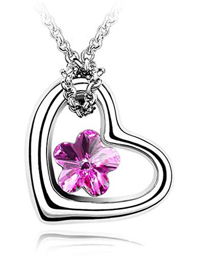 Flor Corazón Encanto Colgante Collar Moda Mujer Joyería Pareja Regalo Agua Cristal Austriaco Joyería Moda Personalidad Tendencia