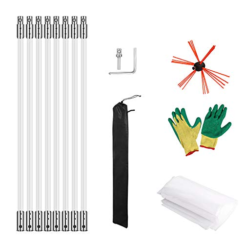 Cheapest Prices! Morinoli 26ft Chimney Cleaning Kit Vent Chimney Cleaning System with Extension Rob ...