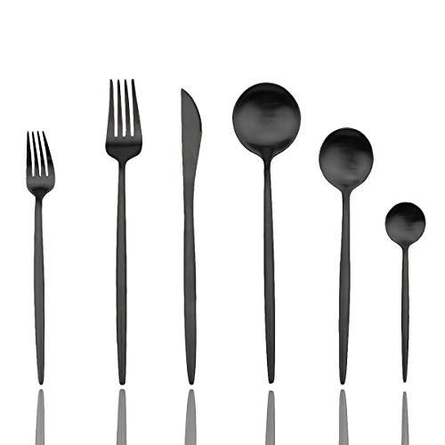 JASHII Luxury Black Flatware, Silverware Sets, 24-pieces Elegant Cute 18/10 Stainless Steel Silverware Set for Eating Home Kitchen Hotel Restaurant, Service Sets for 4 People, Dishwasher Safe
