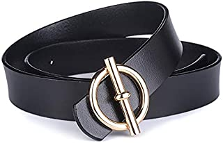 SGJFZD Belt Ladies Leather Fashionable Leather Leather Smooth Buckle Thin Belt Casual Wild Narrow Wide Korean Women's Decoration (Color : Black, Size : 115cm)