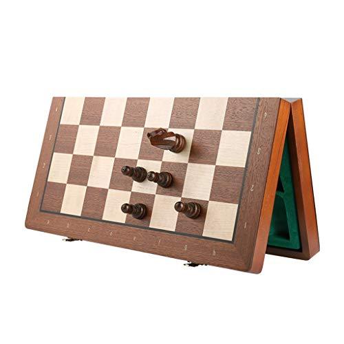 2 en 1 Ajedrez Magnetico para Adultos/Piezas de Ajedrez, Ajedrez de Madera 3in King Altura de Ajedrez / 15in Juegos de Ajedrez únicos y Juegos para Niños