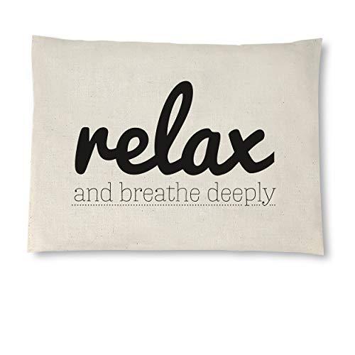 Kirschkernkissen aus naturbelassener Baumwolle, 26x19 cm, Wärmekissen oder Kühlkissen, handgemachte Geschenke, 12 Motive im Handlettering-Stil: Motiv: Relax, breathy deeply
