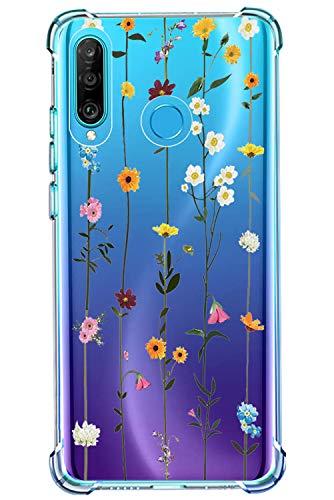 Handyhülle Kompatibel mit Huawei P30 Lite Hülle Handy Case Transparent TPU Weiche Silikon Transparent Blumen Schutzhülle Case für P30 Lite