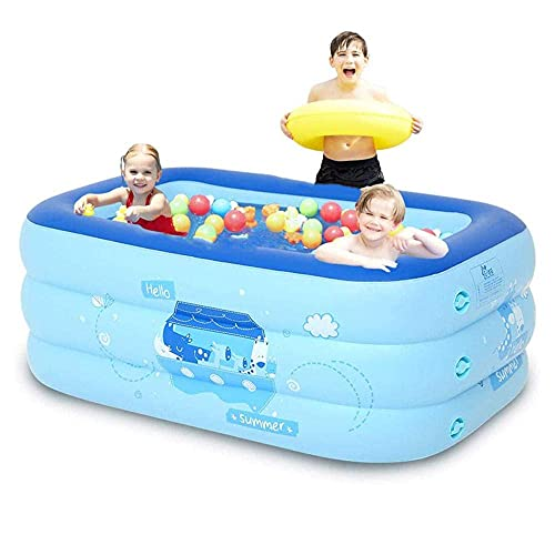 N\C ZSCC Piscina Infantil Inflable Familiar al Aire Libre, 3 Anillos, Playa, océano, niños, diversión de Verano, Juegos acuáticos, Juguete, bañera de PVC para jardín