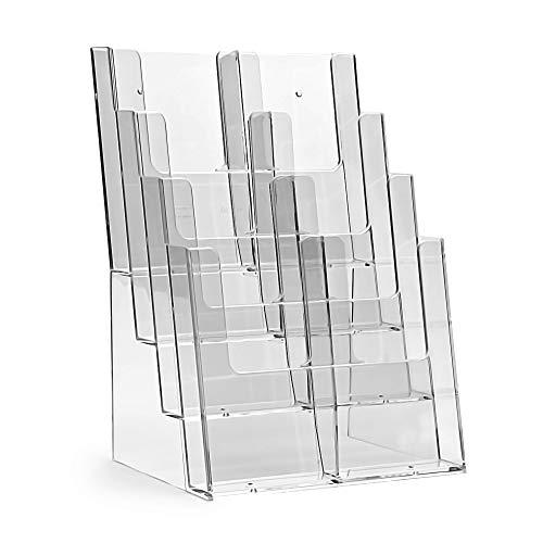 taymar Tisch-Prospektständer im Format DIN A4, DIN Lang (DL), 4 Etagen, transparent, 8 Fächer
