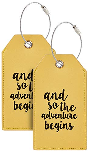 Casmonal Luggage Tags with Full Back Privacy Cover w/Steel Loops (yellow 02 pcs set)