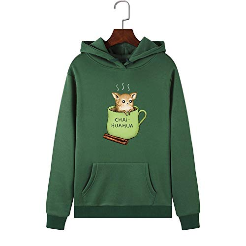 Shirt Donne Felpe con cappuccio Green Sport Teacup Rat Motivo stampa Pullover femminile Felpa con...