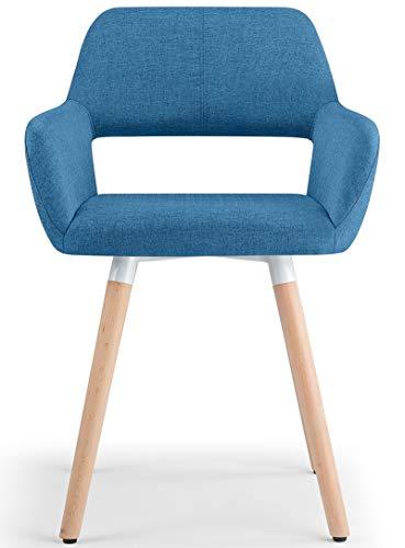 BAR Stools UK Oslo Tissu Chaise Salle à Manger Bleu