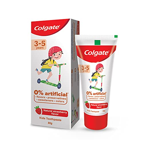 Colgate Toothpaste for Kids (3-5 years), Natural Strawberry Flavour - 80 gr Tube,Cavity Protection,0% artificial preservatives, colors , sweetners
