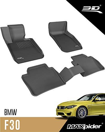 3D MAXpider BMW Série 3 (F30) 2012-2019 Tapis de Sol Voiture en Caoutchouc pour Tous Temps Antidérapant Imperméable Recouvrement Total