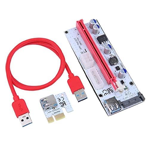 PCI-E Riser Card Set PCIe 1X a 16X Adaptador 4Pin 6Pin SATA Alimentación USB 3.0 Cable para Bitcoin Miner Minería Usb3.0 Pcie Adaptador Tarjeta