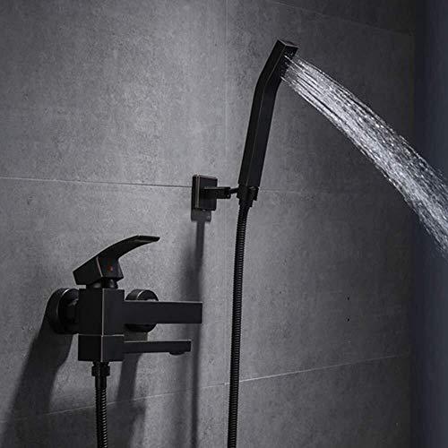 LILICEN CY Sistema Negro Retro de Cobre Grifo de la bañera Ducha orientable Ducha Set 2 Función Simple Baño Ducha Hermoso Determinado práctica