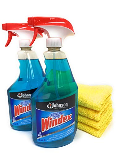 Best Window and Glass Shower Door Cleaner - No Residue & Streak Free Shine - Clean Scent - 2 x 32 oz Windex Bottles + EverydayEssentials Microfiber Cloths Bundle