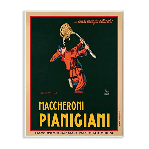 Stupell Industries Maccheroni Pianigiani Vintage Poster Food, Design by Marcello Dudovich Art, 13 x 19, Wall Plaque