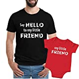 Texas Tees Say Hello to My Lil Friend T-shirt Dad Son Matching Shirt,Say Hello To. . Black & Red,Mens (Large) & 0-3 Month