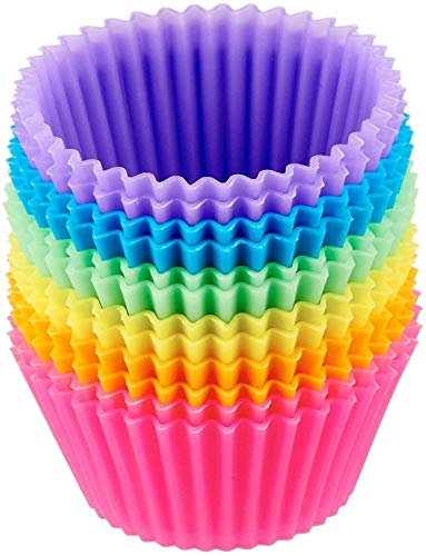 24Pc/Set Reusable Grade Silicone Baking Cups, No Smell, Cupcake Liners Molds Muffin Liners Molds Sets, Perfect for Holiday Party Cake Balls, Muffins, Cupcakes, and Candies(US in Stock)