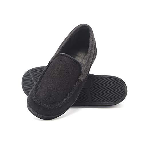 Hanes Men's Moccasin Slipper House Shoe with Indoor Outdoor Memory Foam Sole Fresh Iq Odor Protection, Black, Medium
