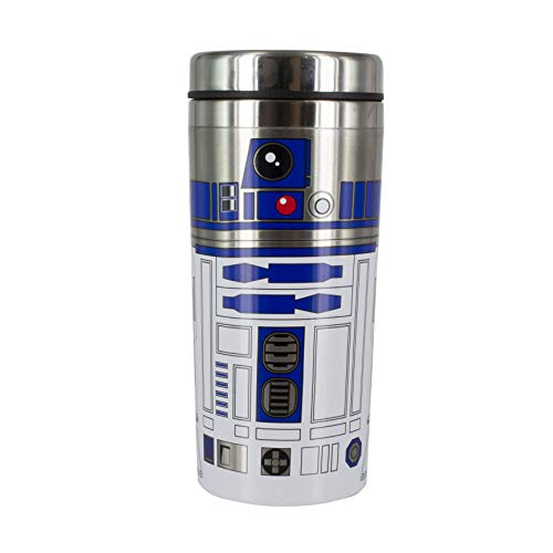 Star Wars: The Last Jedi R2-D2 Travel Mug | Brushed Stainless Steel | Reuseable Commuter Cup | Insulated Coffee & Tea Flask | Easy Clean | Double Walled Insulation | 450ML Capacity | Spill Proof