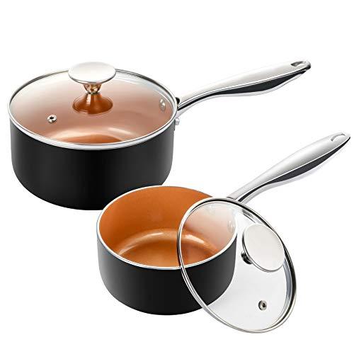 MICHELANGELO Saucepan Set with Lid, Nonstick 1Qt & 2Qt Copper Sauce Pan Set with Lid, Small Pot with Lid, Ceramic Nonstick Saucepan Set, Small Sauce Pots, Copper Pot Set - 1Qt & 2Qt