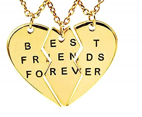 LUIDILUC Collar de corazón Meta Collar de la amistad para tres mejores amigos Forever