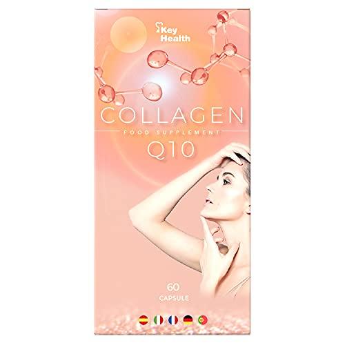 Key Health | Colágeno Marino Peptan con Coenzima Q10, Ácido Hialurónico, Vitamina C y Zinc | Aumenta la Elasticidad de la Piel | Piel Hidratada y Radiante | Fórmula Mejorada | 1 Cápsula al Día