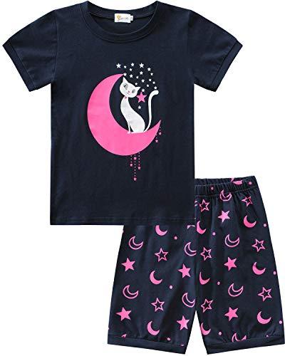 MOLYHUA Mädchen Zweiteiliger Schlafanzüge Kurz Baumwolle Bekleidungsset für Baby-Mädchen T-Shirt Tops Shorts Outfits Set 1-7 Jahre 86 92 98 104 110 116