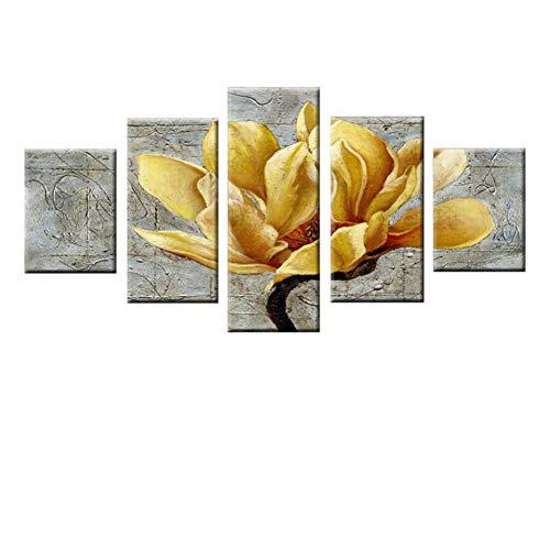 JFASJ 5 Fotos Cartel 5 Piezas Flor Amarilla Paisaje Imagen Pared Arte módulo Lienzo Pintura Dormitorio salón decoración