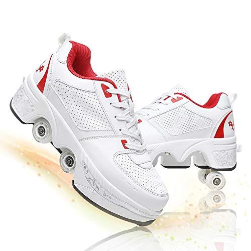 Fbestxie Deformación Patines De Ruedas Ajustable Cuatro Ruedas Polea Zapatos para Niños Invisibles De Doble Fila Automático Telescópico Patines,White Red,34