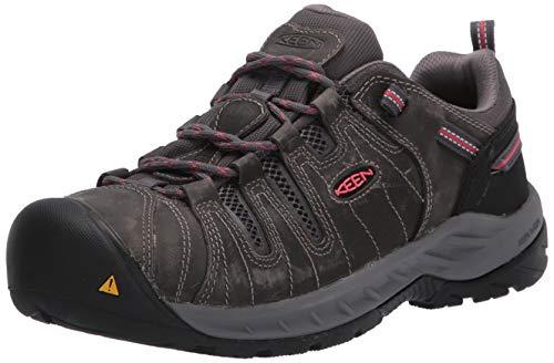 KEEN Utility Womens Flint II Low Steel Toe Non Slip Work Shoe Construction, Magnet/Rose,9