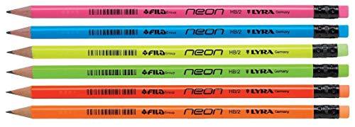 Lyra Bleistifte mit Radiergummi, schwarze Mine, Härtegrad HB, 12 Stück, Neonfarben