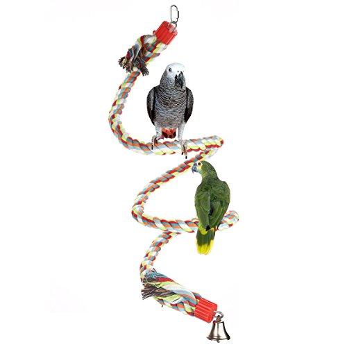 Jusney Bird Perch, Large Parrot Toys 63 Inch Climbing Rope Bungee Bird Toys