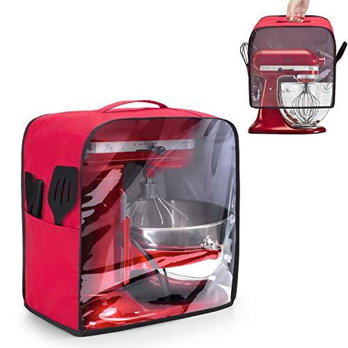 Luxja Transparente Frontplatten-Staubabdeckung für KitchenAid Mixer, Staubschutz mit Griff oben für Standmixer und zusätzliche Aufsätze (passend für 4,5 Quart und 5 Quart Standmixer), rot