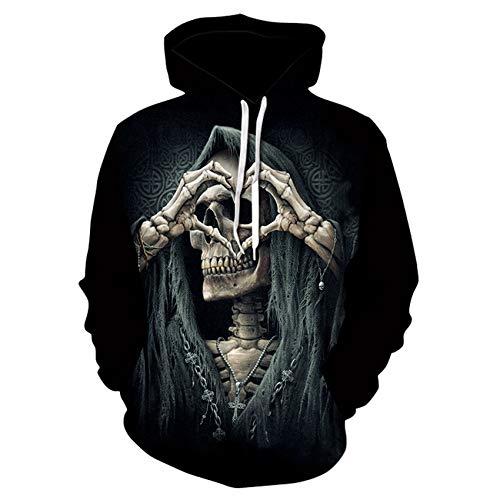 LiDaiJin Symbol of Love Skull Sudadera con Capucha Suelta para Hombre con Estampado 3D