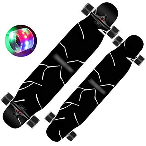 Skateboard Beidseitig Schwarzes Longboard Jungen Tanzendes Longboard Allround-Allrad 200 Kg Last Starker Halt (Color : Black, Size : 120 * 24.5 * 13cm)