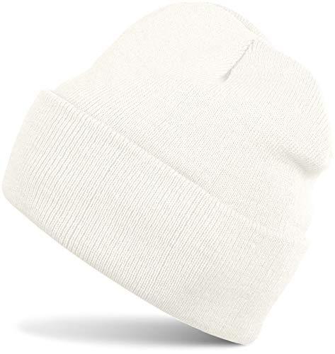 styleBREAKER Unisex warme Beanie Strickmütze, Feinstrick Mütze doppelt gestrickt, Winter 04024029, Farbe:Weiß (Creme-Weiß)