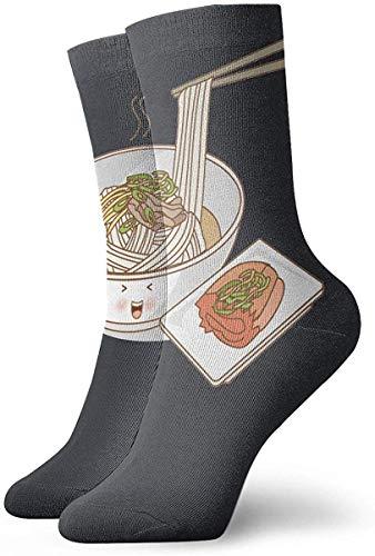 okstore1988 Lustige bunte grüne Paprika Ramen Nudeln klassische atmungsaktive Crew Socken 30 cm flach gestrickte lässige sportliche tägliche Sportsocken