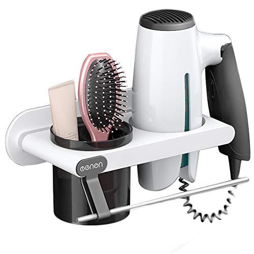 kitchen-dream Soporte para secador de Pelo,Estante para secador de Pelo,Estante para secador de Pelo con Barra de Toalla,Estante para secador de Pelo de baño Multifuncional(Blanco)