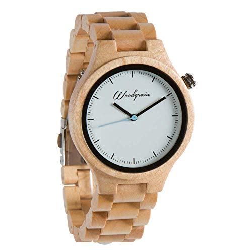 Woodgrain Bamboo Wooden Watch with Genuine Brown Cow Leather Strap Quartz Analog Casual Wood Watches