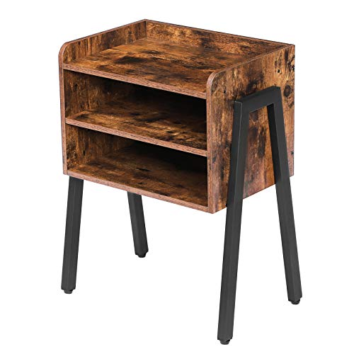 HOOBRO End Table, Stackable Nightstand, 23.6 Inch High Side Table for Small Spaces with 2 Open Front Storage Compartments, Wood Look Accent Table with Metal Frame, Rustic Brown BF02BZ01