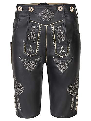 dirndloutlet dames klederdrachtbroek lederen broek klederdrachtbroek incl. bretel% sale% uit fijn nappa met borduurwerk, zwart
