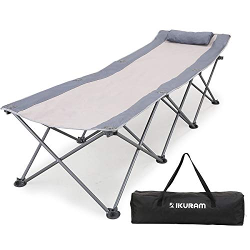IKURAM Folding Camping Cot with Side Storage Bag, Single Person Camping Bed Foldable Sleeping Bed Cots for Adults with Carry Bag and Pillow