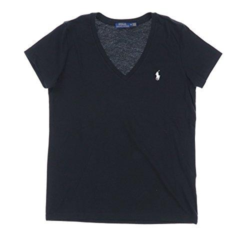 Polo Ralph Lauren Womens V-Neck Jersey T-Shirt (Medium, Polo Black)