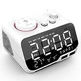 WWWL Despertador Digital Reloj Despertador Altavoz Bluetooth Radio FM Temperatura Snooze Brillo Regulador de Dormitorio Temporizador de Sueño Reloj Bluetooth Blanco US