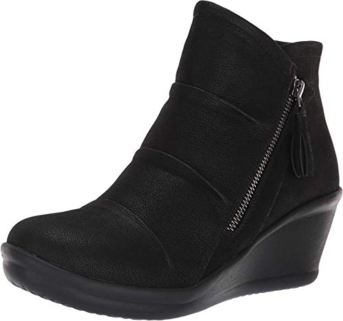 Skechers Women's Rumblers-Ruched Vamp Bootie with Tassel Ankle Boot, Black, 7.5 M US