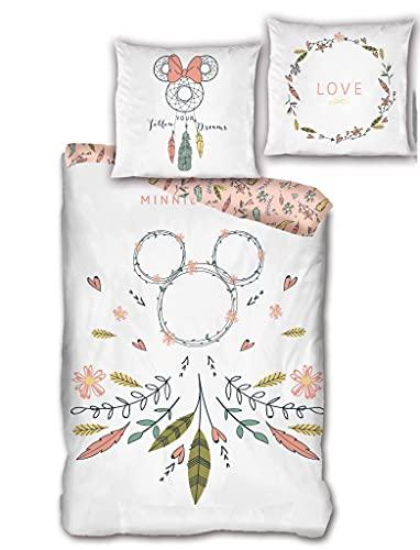 Aymax Wende Bettwäsche-Set Disney Minnie Mouse Dreamcatcher 135 x 200 cm 80 x 80 cm 100% Baumwolle Linon Minnie Maus Traumfänger Boho