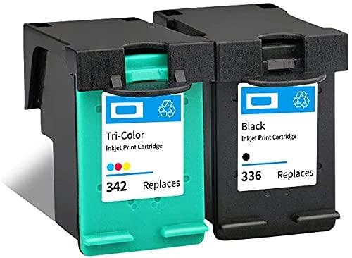 Ink E-Sale Remanufacturado 336 342 para Cartuchos HP 336 HP 342 Compatibles con Deskjet 5420 Officejet 6310 6318 Photosmart 2570 2575 C3100 C3140 C3150 C3170 C3180 C3183 C4100 C4140,1 Negro 1 Tricolor