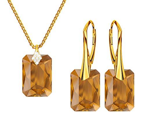 *Beforya Paris * Novedad Smeralada * Topaci* – Plata 925 / Oro 24 K – Juego de joyas para mujer – joyas con cristales de Swarovski Elements – Pendientes y collar con caja de regalo
